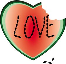 Free Heart From A Water-melon Royalty Free Stock Photos - 14228428