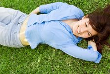 Free Pretty Girl Lying On Grass Royalty Free Stock Photo - 14229705