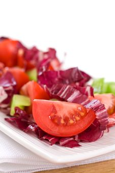 Free Cut Tomato And Colored Salad Stock Photography - 14229762