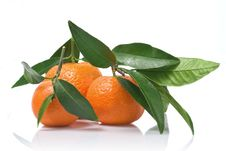 Free Tangerines With Green Leaves Stock Images - 14229924