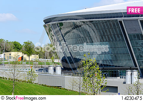 Stadium from glass and metal Stock Photo