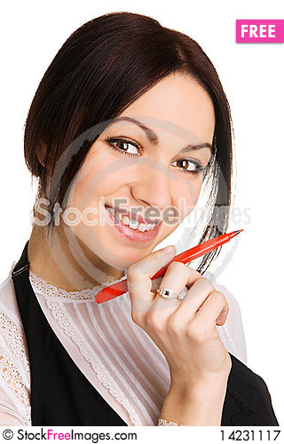 Cute businesswoman pointing with a marker Stock Photo