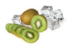 Free Kiwi With Ice Cubes Isolated Stock Photo - 14230370