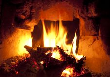 Wood Burning In Fireplace Royalty Free Stock Photos