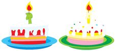 Cakes With Candles Royalty Free Stock Photo