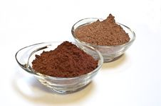 Cocoa Cake And Cocoa Powder Royalty Free Stock Photography