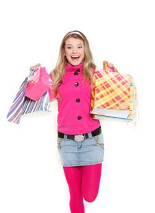 Free Happy Girl With Shopping Bags Royalty Free Stock Photo - 14231675