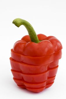Free Sliced Red Pepper On White Stock Photo - 14232480