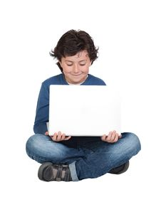 Adorable Little Boy Sitting With Laptop Royalty Free Stock Photo