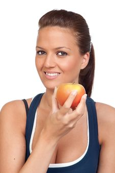 Gymnastics Girl With An Apple Royalty Free Stock Photos