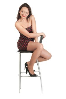 Free Beautiful White Girl In Dress And Stool Stock Images - 14234764