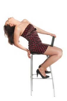 Free Beautiful White Girl In Dress And Stool Royalty Free Stock Photos - 14234768