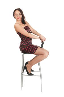 Free Beautiful White Girl In Dress And Stool Stock Image - 14234771