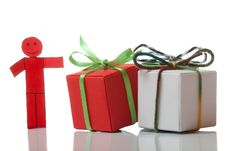 Free Red Toy Man And Present Boxes Stock Photo - 14235180