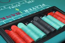 Free Gambling Chips On Table Stock Photos - 14236263