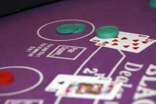 Free Gambling Chips On Table - Blackjack Stock Photos - 14236273
