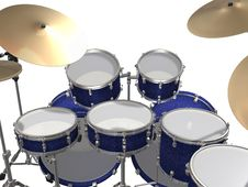 Free Drum Kit Isolated On A White Stock Image - 14236441