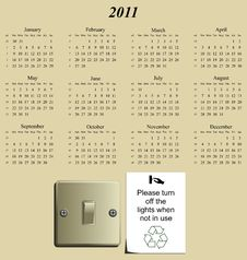 Free 2011 Calendar Royalty Free Stock Photos - 14237028