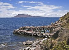 Small Boat Harbor By A Peruvian Lake Royalty Free Stock Images