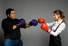 Free Young Couple Boxing Stock Image - 14238041