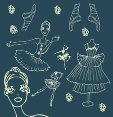 Ballet Doodley Icons Set Woman Royalty Free Stock Images