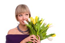 Free Woman With Tulips Stock Photos - 14238453