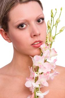 Pretty Young Woman Portrait With Orchid Stock Photography