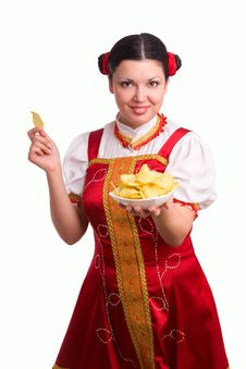 German/Bavarian Woman With Potato Chips Royalty Free Stock Photography
