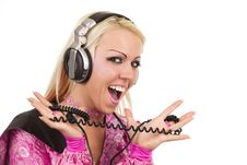 Free Blonde Dj In Pink Suit With A Headphone Royalty Free Stock Image - 14239386