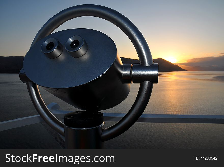Scenic Lookout Binoculars At Sunrise - Free Stock Images ...