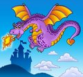 Free Huge Flying Dragon Near Castle Royalty Free Stock Photography - 14246427