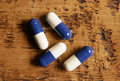 Free Pile Of Blue And White Pills Stock Images - 14247954