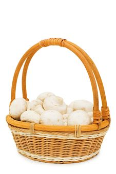 Free Wattled Basket With Field Mushrooms Isolated Stock Photo - 14240570