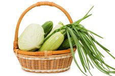 Free Wattled Basket With Vegetables Royalty Free Stock Photography - 14240577