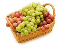 Free Wattled Basket With Grapes Stock Images - 14240594
