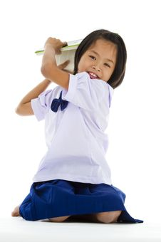 Free Cute Girl Throwing A Book Royalty Free Stock Photography - 14240667
