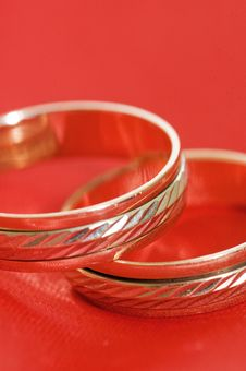 Free Two Gold Wedding Rings On The Red Royalty Free Stock Photo - 14241015
