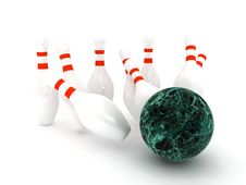 Free Bowling Pins On White Background Stock Image - 14242651