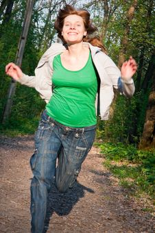 Free Young Pregnant Woman Is Running Stock Image - 14243091