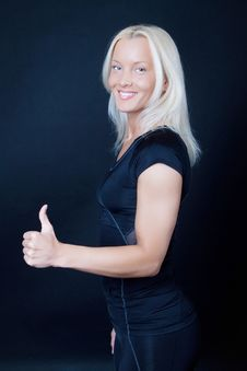 Athlete Showing A Sign Royalty Free Stock Image