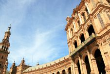 Plaza De Espana Palace & Tower, Sevilla Royalty Free Stock Photo