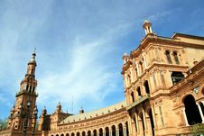 Plaza De Espana Palace & Tower, Sevilla Stock Photos