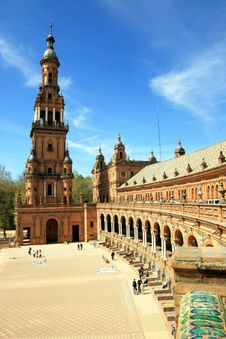 Plaza De Espana Palace, Seville Spain Stock Image