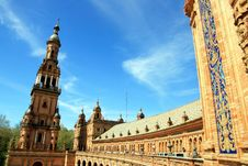 Plaza De Espana Palace & Tower, Sevilla Stock Images