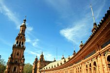 Sevilla, Plaza De Espana Palace Tower. Spain Stock Photo