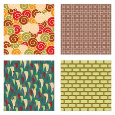 Free Four Seamless Vector Patterns Stock Image - 14244051