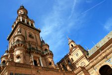 Sevilla, Plaza De Espana Palace Tower. Spain Royalty Free Stock Photos