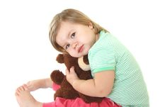 Free Cute Baby Girl With Her Teddy Bear Royalty Free Stock Images - 14244369