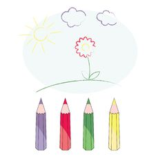 Free Picture With Crayons Royalty Free Stock Photos - 14244398