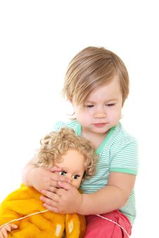 Free Baby Girl With Her Doll Royalty Free Stock Photography - 14244407